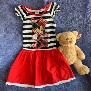 Disney Striped Top Solid Skirt Minnie Mouse Dress